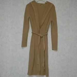 J Crew long cotton belted cardigan/coatigan Medium